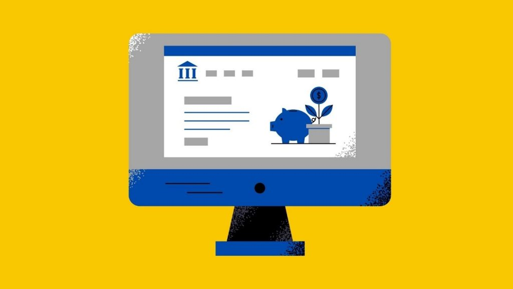 A cartoon blue computer sitting on a yellow background.