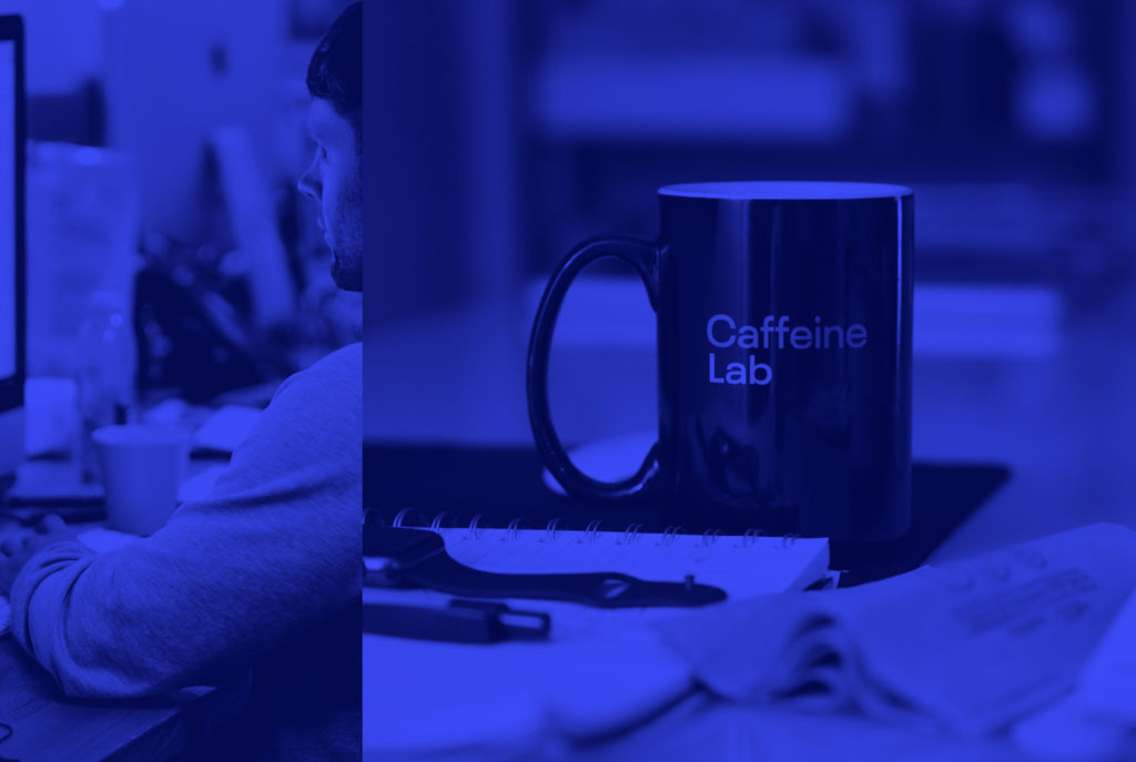 CaffeineLab logo on a coffee mug