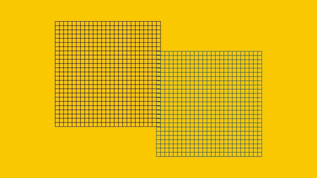 Two grids in black and blue sitting on a yellow background.