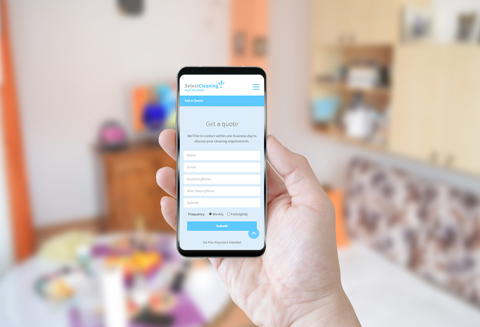 Select cleaning website presented on a mobile phone